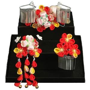 髪飾り 七五三着物 成人式振袖 卒業袴 に最適な和タイプ 3点セット 赤 ちりめん地 桜垂れ飾り かんざしピンタイプ 日本製