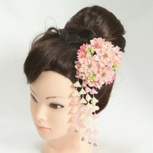 髪飾り 成人式 振袖 卒業袴 七五三 撫子 ピンク 白 つまみかんざしピンタイプ 日本製|doresukimono-kyoubi