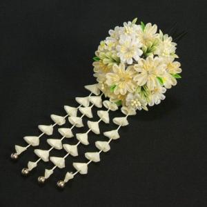 髪飾り 成人式 振袖 卒業袴 七五三 桜 白 つまみかんざしピンタイプ 日本製