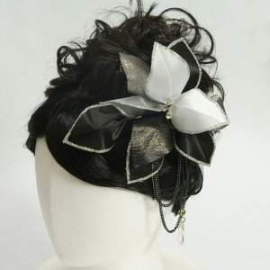 髪飾り 成人式 振袖 七五三着物 卒業袴 ドレスにも使えます ブラックホワイト シルバー コームタイプ 日本製|doresukimono-kyoubi