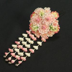 髪飾り 成人式 振袖 卒業袴 七五三 八重桜 淡ピンク 白 つまみかんざしピンタイプ 日本製