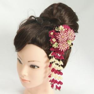 髪飾り 成人式 振袖 卒業袴 七五三 なでしこ パープル つまみかんざしピンタイプ 日本製