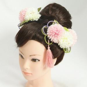 髪飾り 成人式 振袖 七五三着物 卒業袴 ドレスにも使えます 白 ピンク 3点セット コーム・ピンタイプ 日本製|doresukimono-kyoubi
