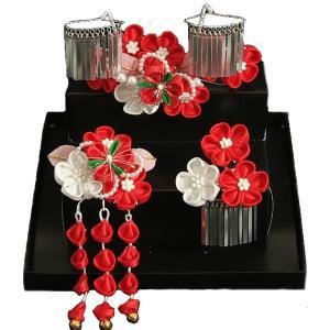 髪飾り 七五三着物 成人式振袖 卒業袴 に最適な和洋兼用タイプ 3点セット 赤 白 パール飾り 桜垂れ飾り かんざしピンタイプ 日本製