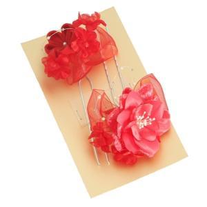 髪飾り 七五三着物 成人式振袖 卒業袴 に最適な和タイプ 2点セット 薔薇モチーフ 赤 ピンク かんざしピンタイプ 日本製|doresukimono-kyoubi