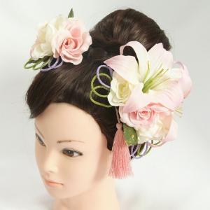 髪飾り 成人式 振袖 七五三着物 卒業袴 ドレスにも使えます 白 ピンク ハイビスカス 3点セット コーム・ピンタイプ 日本製|doresukimono-kyoubi