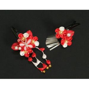 髪飾り 七五三着物 成人式振袖 卒業袴 に最適な和タイプ 2点セット 赤色 白 梅 蝶 垂れ飾り クリップピンタイプ 日本製|doresukimono-kyoubi|02
