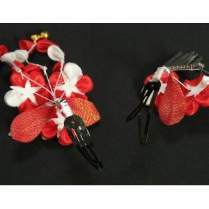 髪飾り 七五三着物 成人式振袖 卒業袴 に最適な和タイプ 2点セット 赤色 白 梅 蝶 垂れ飾り クリップピンタイプ 日本製|doresukimono-kyoubi|04