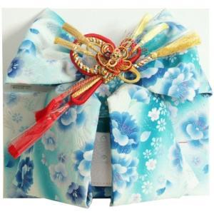 七五三着物用祝い帯 7歳用 濃淡水色グラデーション 胡蝶蘭 牡丹 飾り紐付き 大サイズ 日本製|doresukimono-kyoubi