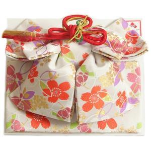 七五三 作り帯 着物 結び帯 7歳 白色 捻り梅 飾り紐付き 大サイズ 日本製