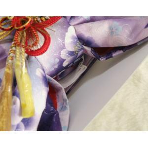 七五三着物用祝い帯 7歳用 濃淡パープルグラデーション 胡蝶蘭 牡丹 飾り紐付き 大サイズ 日本製|doresukimono-kyoubi|03