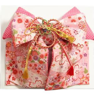 七五三着物用祝い帯 7歳用 ピンク地白ボカシ 桜 芍薬 ちりめん生地 飾り紐付き 大サイズ 日本製|doresukimono-kyoubi