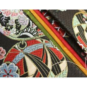 七五三着物用祝い帯 7歳用 黒地 まり柄 鹿の子地紋生地 重ね作り仕様 飾り紐付き 大サイズ 日本製 doresukimono-kyoubi 03