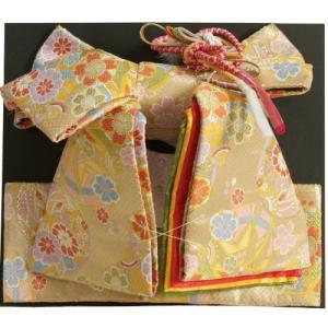 七五三着物用祝い帯 7歳用 ゴールド地 まり柄 鹿の子地紋生地 重ね作り仕様 飾り紐付き 大サイズ 日本製|doresukimono-kyoubi