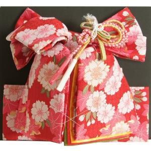 七五三着物用祝い帯 7歳用 赤地 八重桜柄 七宝地紋生地 重ね作り仕様 飾り紐付き 大サイズ 日本製|doresukimono-kyoubi