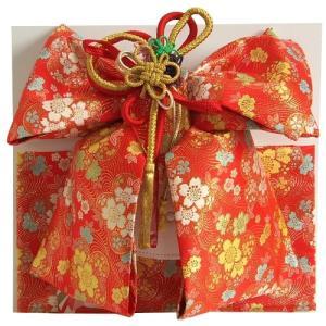 七五三着物用祝い帯 7歳用 赤 桜 友禅柄 飾り紐付き 大サイズ 日本製|doresukimono-kyoubi
