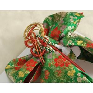 七五三着物用祝い帯 7歳用 緑 桜流水柄 飾り紐付き 大サイズ 日本製|doresukimono-kyoubi|03