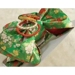 七五三着物用祝い帯 7歳用 緑 桜流水柄 飾り紐付き 大サイズ 日本製|doresukimono-kyoubi|04