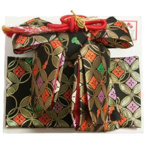 七五三着物用祝い帯 7歳用 黒 七宝花菱 飾り紐付き 大サイズ 日本製|doresukimono-kyoubi