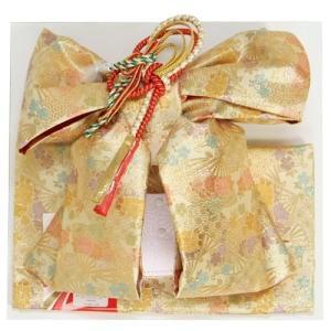 七五三着物用祝い帯 7歳用 ゴールド 扇 桜 友禅柄 飾り紐付き 大サイズ 日本製|doresukimono-kyoubi