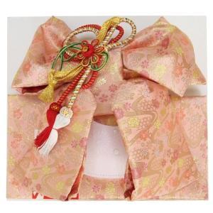 七五三着物用祝い帯 7歳用 ピンク 桜流水柄 飾り紐付き 大サイズ 日本製|doresukimono-kyoubi