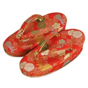 七五三 草履単品 2〜3歳用 赤地色 桜菊文様 かかと鈴使い 小サイズ 日本製