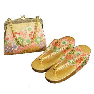 7歳用 七五三に最適な草履バッグセット 金襴地 四季桜文様 日本製|doresukimono-kyoubi
