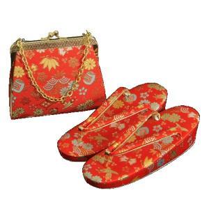 7歳用 七五三に最適な草履バッグセット 赤色地 宝尽くし文様 日本製|doresukimono-kyoubi