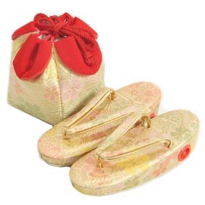 七五三 草履バッグ(きんちゃく)セット 3歳から5歳用 ベージュゴールド 友禅文様 日本製|doresukimono-kyoubi