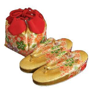 七五三 草履バッグ(きんちゃく)セット 3歳から5歳用 金襴地 四季桜文様 日本製|doresukimono-kyoubi