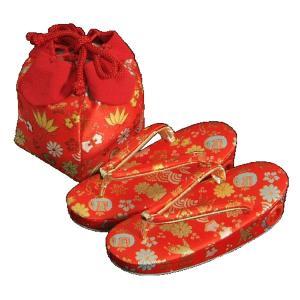 七五三 草履バッグ(きんちゃく)セット 3歳から5歳用 赤 宝尽くし文様 日本製|doresukimono-kyoubi