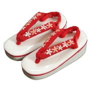 七五三 草履単品 3〜5歳用 白地色 ラメ判 赤刺繍使い鼻緒 中サイズ 箱なし