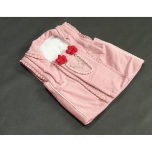 七五三 着物 被布単品 3歳 女の子 ピンクベージュ フリルタイプ パール飾り ひな祭り お正月|doresukimono-kyoubi|02