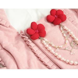 七五三 着物 被布単品 3歳 女の子 ピンクベージュ フリルタイプ パール飾り ひな祭り お正月|doresukimono-kyoubi|03