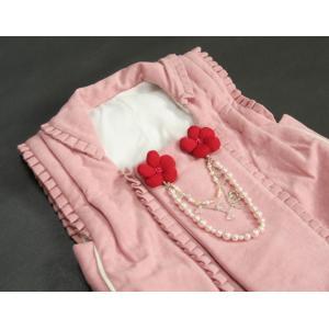 七五三 着物 被布単品 3歳 女の子 ピンクベージュ フリルタイプ パール飾り ひな祭り お正月|doresukimono-kyoubi|04