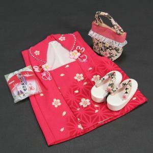七五三 三歳用 花夢二ブランド被布草履バックセット 黒鼻緒 桜柄 被布濃ピンク地 足袋付きセット