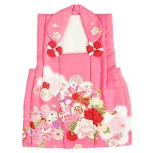 被布 着物 3歳 濃ピンク 捻り梅 牡丹 七五三 ひな祭り お正月 桜地紋生地
