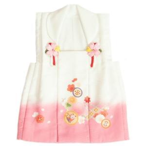 被布 着物 三歳 赤色 桜飾り 角衿 七五三 ひな祭り お正月 桜地紋生地|doresukimono-kyoubi