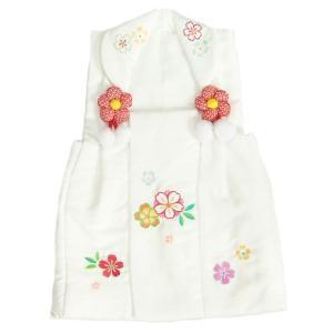 七五三 3歳 被布着 着物 白地 桜刺繍使い ひな祭り お正月 地紋生地