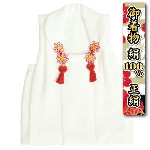 七五三 正絹 被布 着物 3歳 女の子 赤 刺繍捻り梅 ひな祭り お正月 唐絞りふくれ生地 日本製
