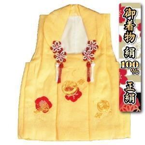 七五三 正絹 被布 着物 3歳 黄色 本梅絞り 金駒刺繍まり ひな祭り お正月 地紋生地 日本製