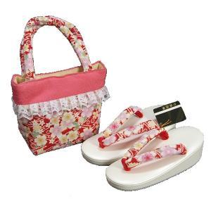 七五三 3歳から5歳用 草履バッグセット 赤 桜柄 日本製|doresukimono-kyoubi