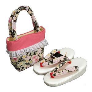 七五三 3歳から5歳用 草履バッグセット 黒 桜柄 日本製|doresukimono-kyoubi