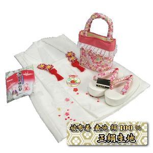 七五三 3歳から5歳用 正絹被布草履バッグセット ピンク 桜柄 被布白地 足袋付きセット 日本製|doresukimono-kyoubi