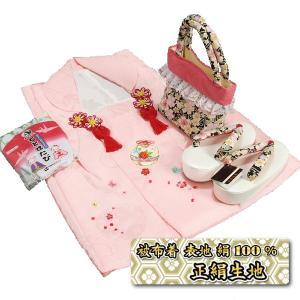 七五三 3歳から5歳用 正絹被布草履バッグセット 黒 鈴 桜柄 被布ピンク地 足袋付きセット 日本製|doresukimono-kyoubi
