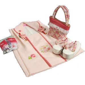 七五三 3歳から5歳用 式部浪漫ブランド被布草履バッグセット ピンク鼻緒 被布淡いピンク地華輪刺繍 足袋付きセット 日本製