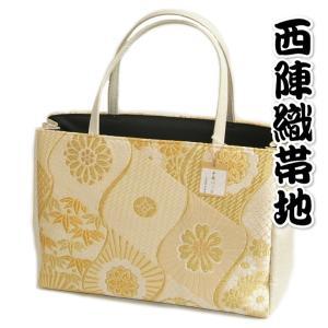 金襴バッグ 和洋兼用 礼装及びカジュアルスタイルのサブバッグ 縦型 手提げタイプ 蔓梅鉢紋華柄 日本製|doresukimono-kyoubi