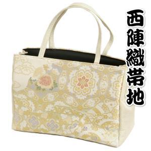 金襴バッグ 和洋兼用 礼装及びカジュアルスタイルのサブバッグ 縦型 手提げタイプ 大蔓芍薬文様 日本製|doresukimono-kyoubi