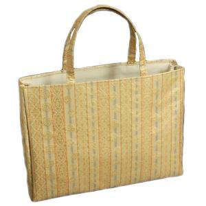 金襴バッグ 和洋兼用 礼装及びカジュアルスタイルのサブバッグ 横型 手提げタイプ 梅鉢有職文様 日本製|doresukimono-kyoubi
