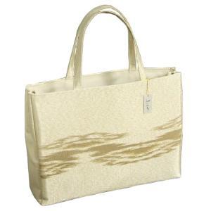金襴バッグ 和洋兼用 礼装及びカジュアルスタイルのサブバッグ ゴールド 横型 手提げタイプ 霞文様 日本製|doresukimono-kyoubi